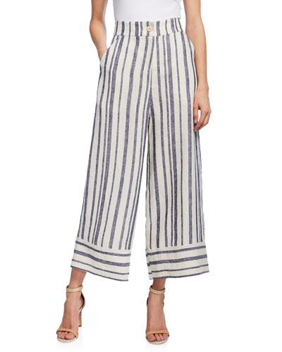Bautista Striped Linen Culottes
