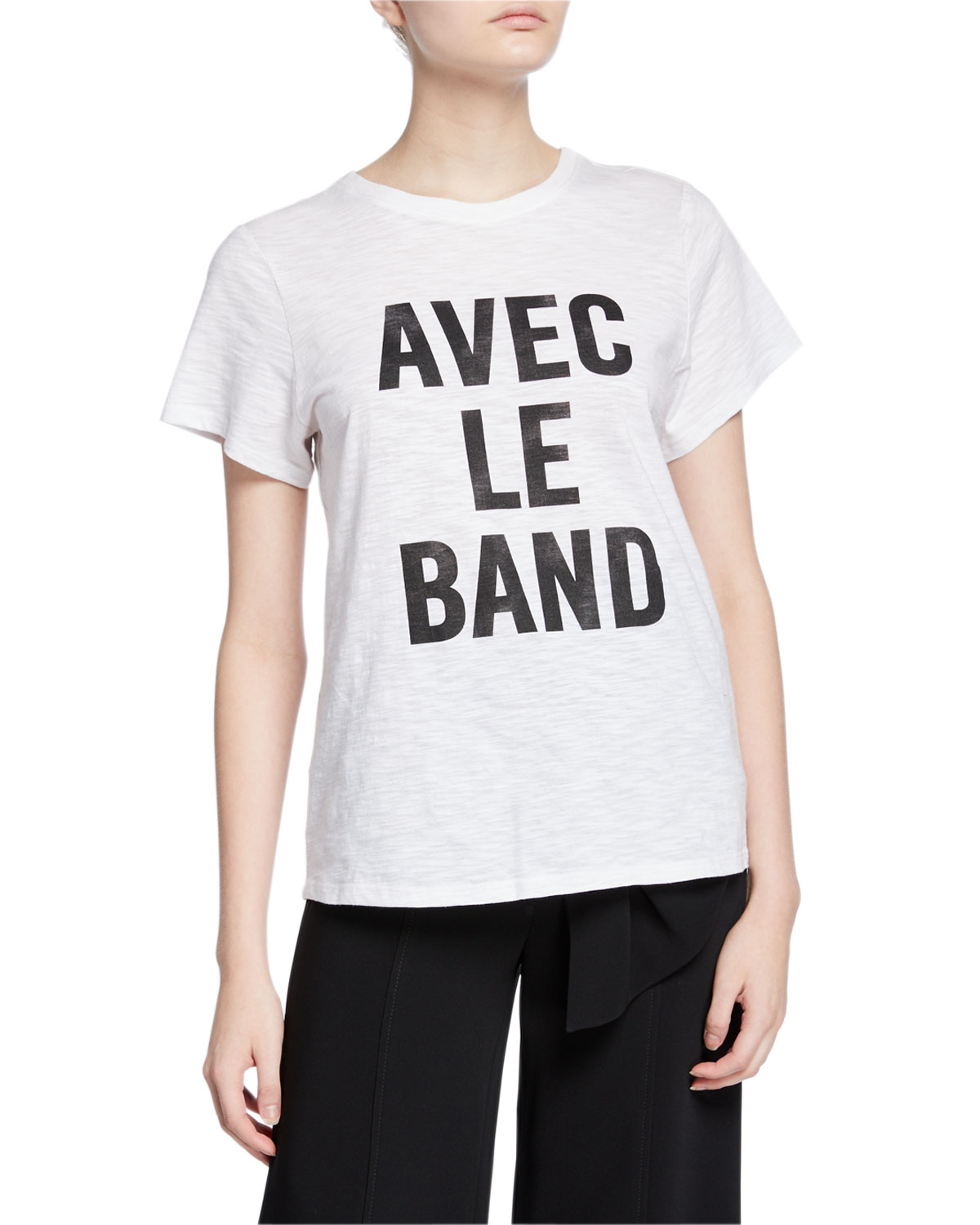 Cinq À Sept Shorts WITH THE BAND SHORT-SLEEVE SLOGAN TEE