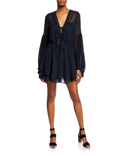 Rafaella Blouson-Sleeve Drawstring Tiered Mini Dress