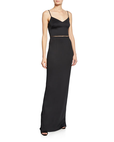 Black Halo Honore Two-Piece Column Gown Set with Crop Slip Top