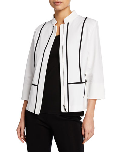 Contrast Piped Zip-Front 3/4-Sleeve Jacket