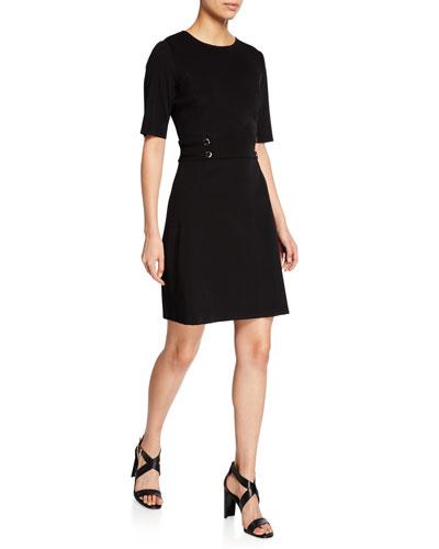 Short-Sleeve Inset-Waist Dress