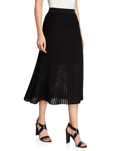 A-Line Multi-Stitch Midi Skirt
