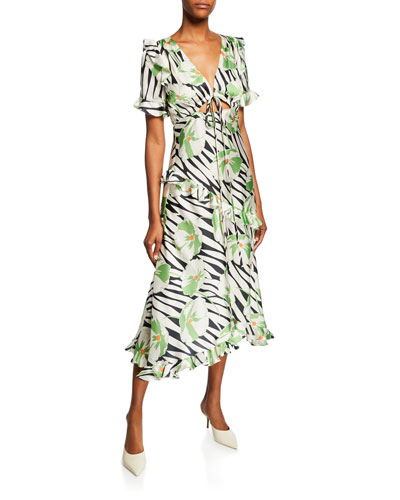 Floral-Print Short-Sleeve Satin Ruffle Dress with Cutout