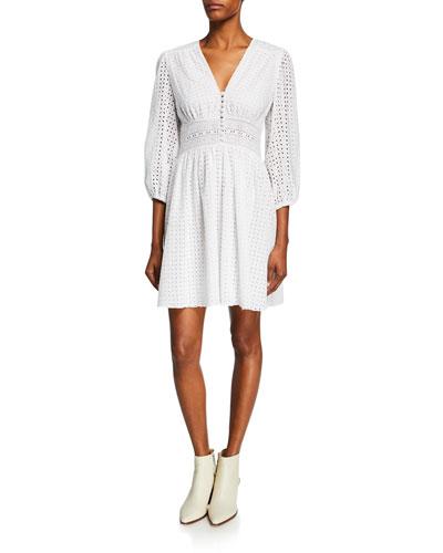 V-Neck Puff-Sleeve Eyelet Cotton Dress