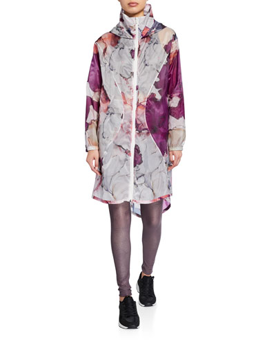 Floral Hooded Zip-Front Active Jacket