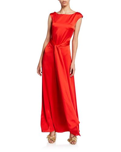 Bateau-Neck Cap-Sleeve Back-Wrap Matte Satin Gown