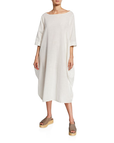 Plus Size Boat-Neck 3/4-Sleeve Cocoon Dress w/ Pockets