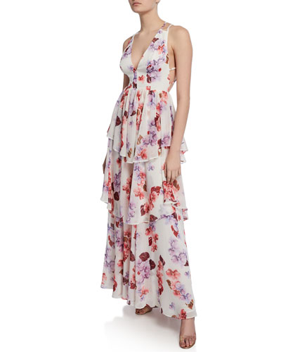 Floral-Print Plunge-Neck Strappy-Back Tiered Georgette Dress