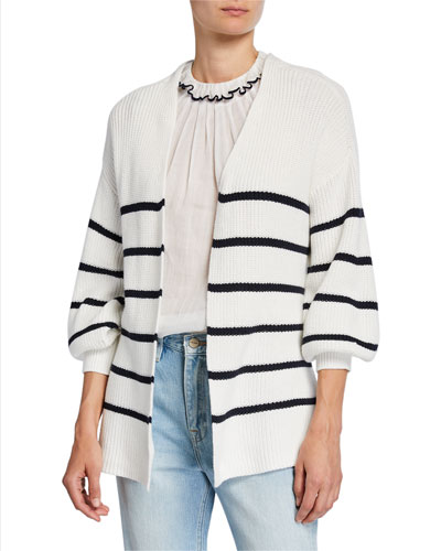 Striped Bishop-Sleeve Chunky Wrap Sweater