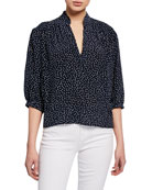 FRAME Cali Dot-Print Silk 3/4-Sleeve Top