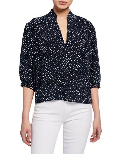 Cali Dot-Print Silk 3/4-Sleeve Top