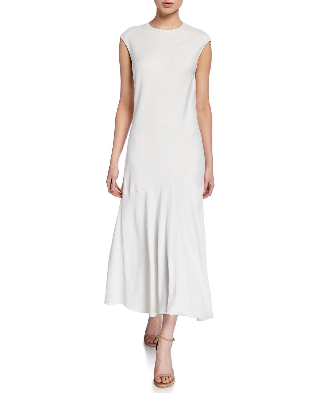 Frame Dresses CASCADE KEYHOLE CAP-SLEEVE DRESS