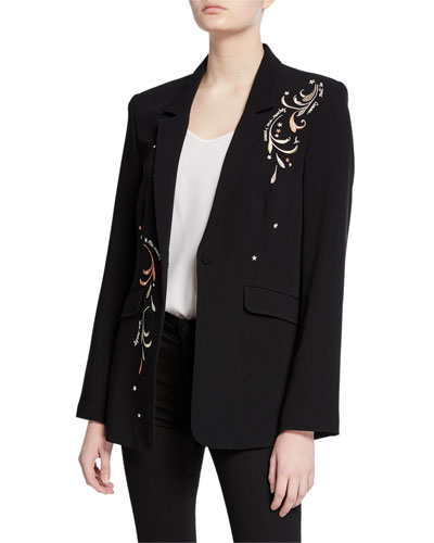 estelle embroidered one-button crepe blazer