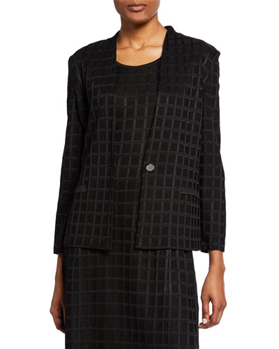Grid Textured One-Button Jacket