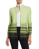 Misook Striped Honeycomb Jacket with Beaded Trim