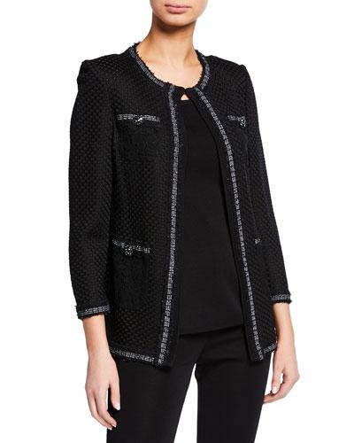Textured 3/4-Sleeve Lace Pocket Jacket