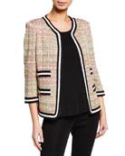 Misook Tweed 3/4-Sleeve Jacket with Contrast Pockets and