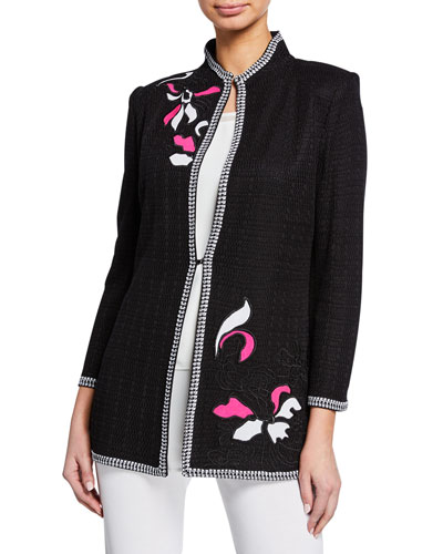 Plus Size Embellished 3/4-Sleeve Jacket with Floral Embroidery