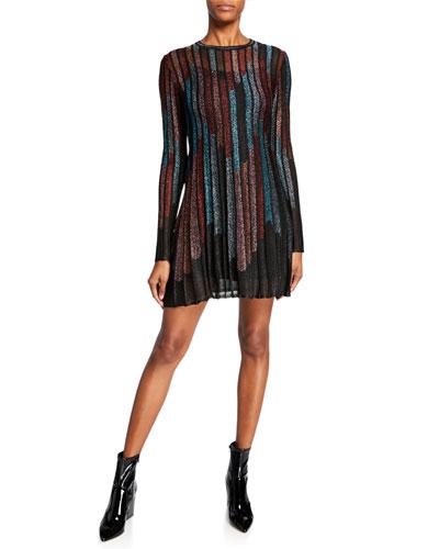 Metallic Striped Long-Sleeve Mini Dress