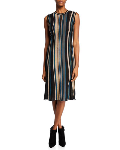 Intarsia Striped Crewneck Sleeveless Midi Dress