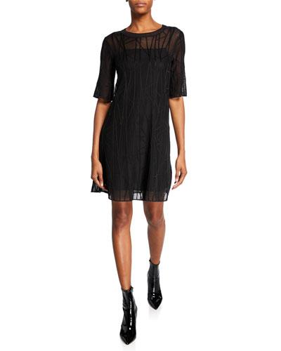 Branch-Stitch Crewneck Elbow-Sleeve Shift Dress
