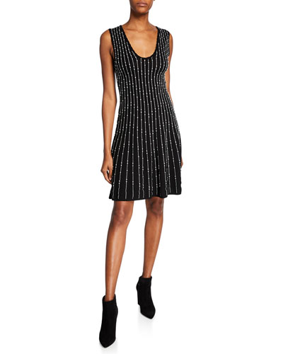 Embellished Scoop-Neck Sleeveless A-Line Dress