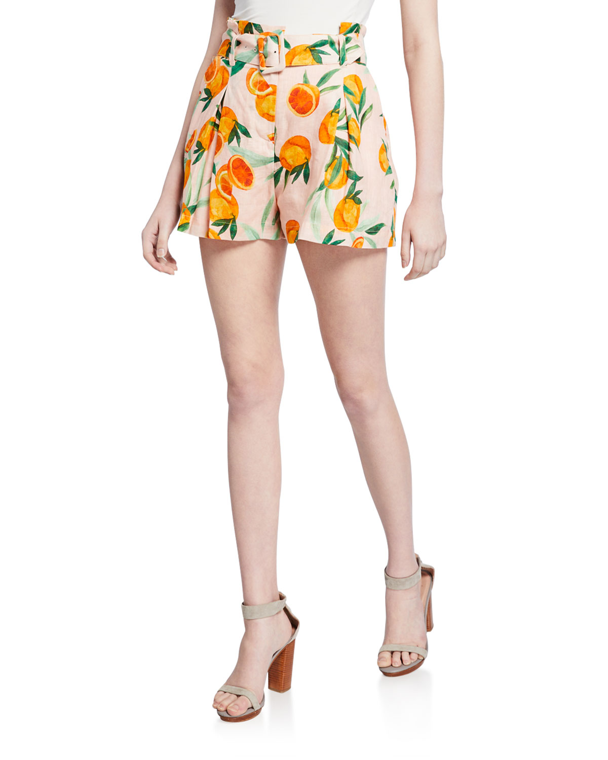 Parker Shorts CARLO ORANGE PRINT BELTED PLEATED SHORTS