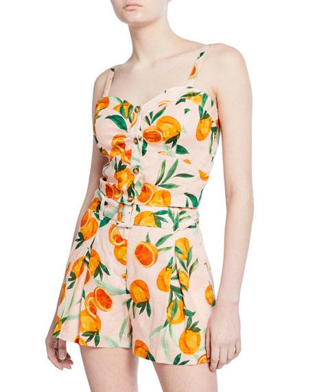 Parker Katarina Orange Sweetheart Linen Crop Top