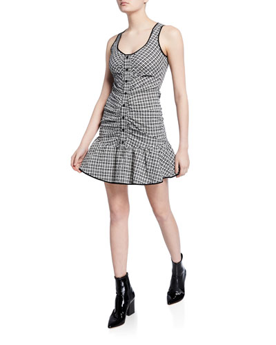 Yael Sleeveless Check Flounce Dress