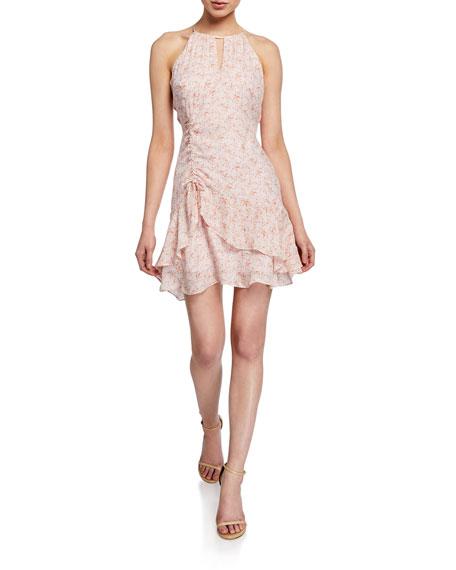 Parker Sherry Sleeveless Flounce Silk Dress