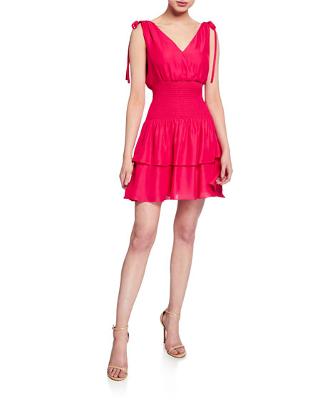 Parker Violina Shoulder-Tie Smocked Mini Dress