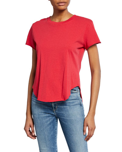 Crewneck Short-Sleeve High-Low Vintage Tee, Red