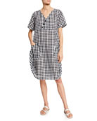 DUBGEE by Whoopi Short-Sleeve Gingham Cocoon Dress w/