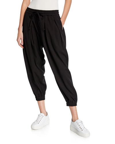 Plus Size Mid-Rise Drawstring Cropped Jogger Pants