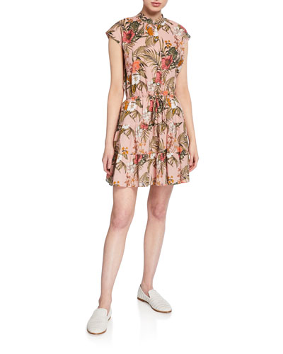 Ollie Floral Cap-Sleeve Shirtdress