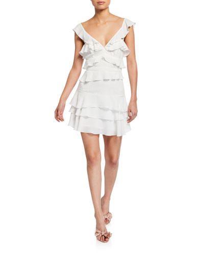 8d2e3d46 Quick Look. Bardot · Babylon Tiered Ruffle Mini Dress
