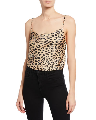Leopard-Print Cropped Cowl-Neck Cami