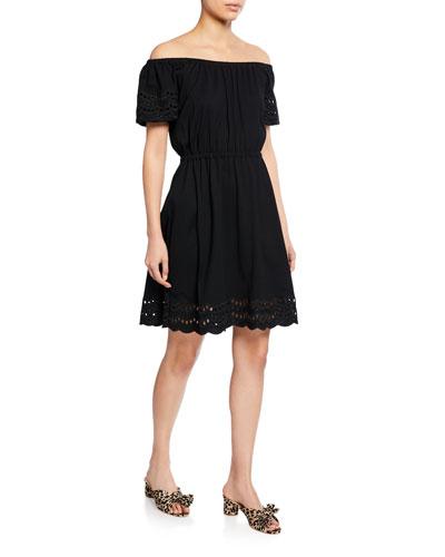 off-the-shoulder short-sleeve scallop eyelet border dress