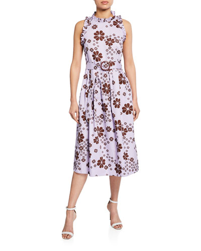 floral-print sleeveless belted midi racerback dress
