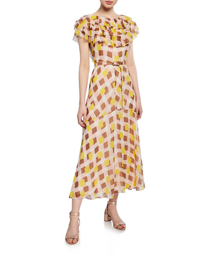 geo squares belted silk midi ruffle dress