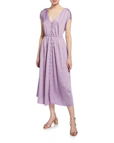 1850bf7f15bd Quick Look. kate spade new york · geo dot-printed short-sleeve satin midi  dress