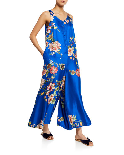 Plus Size Vivian Floral-Print Button-Front Sleeveless Silk Twill Jumpsuit