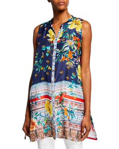 Plus Size Bernie Sleeveless Button-Front Silk Georgette Tunic