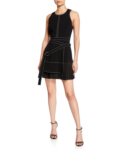 Carver Sleeveless Pleated Dress with Belt