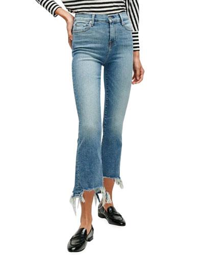 High-Waist Slim Kick Jeans with Destroyed Hem