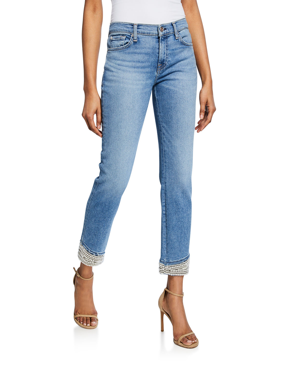 7 For All Mankind Jeans MID-RISE ANKLE SKINNY JEANS WITH PEARL CUFFS