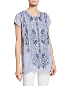 Johnny Was Rosella Button-Front Short-Sleeve Embroidered Linen