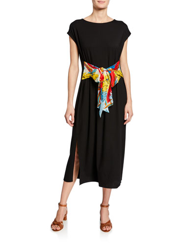 Scarf-Tie Midi Dress