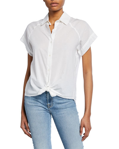 Button-Down Cap-Sleeve Tie-Front Shirt